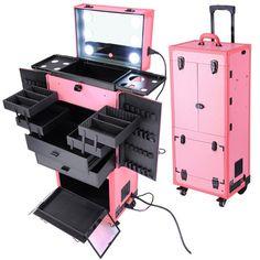 Pink Pro Artist Multifunction Rolling Makeup Cosmetics Case