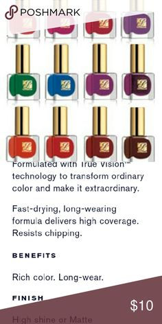 Estee Lauder Pure Color Nail Lacquer Condition NIB   Description: Several colors to choose from: Price is for 1 Laquer  only!   2-N3 Envious (top row #1) 2-GC Bittersweet (top row #2) 2-PO Blossom Bright (top row #3) 2-G8 Nudite (top row #4) 1-N4 Tumultuous Pink (middle row #1) 2-P1 Empowered (middle row #2) 1-21 Pure Red (middle row #3) 1-P2 Inspiring (middle row #4) 1-69 Frozen Fantasy (last row #1) 1-N0 Red Ego (last row #2)  Retail:$17  No pp  No other sites  Price is firm Estee Lauder…