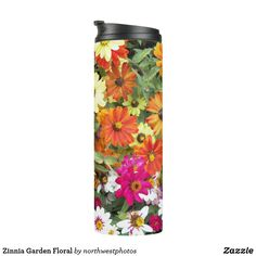 Shop Zinnia Flower Garden Floral Photo Thermal Tumbler created by northwestphotos. Classic Blankets, Zinnia Garden, Custom Tumblers, Zinnias, Mason Jars, Cool Stuff, Bottle, Flowers, Drinkware