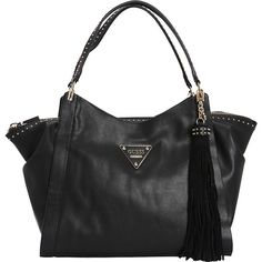 GUESS Thompson Satchel (€97) ❤ liked on Polyvore featuring bags, handbags, black, manmade handbags, guess bags, guess purses, satchel style handbags, purse bag and guess handbags