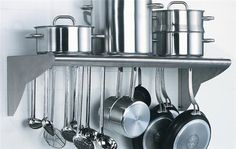 Matfer Bourgeat Stainless Steel, Utensil And Pot Hanger, Wall Mounted Shelf 845608 Stainless Steel Utensils, Stainless Steel Kitchen, Rack Shelf, Wall Racks, Wall Mounted Kitchen Shelves, Pan Hanger, Pan Rack, Ceiling Hangers, Pot Storage