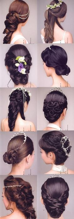 Various hairstyles for bride <3