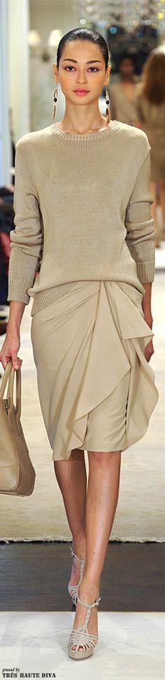 Ralph Lauren ~ Sweater & Skirt, Taupe, Fall 2014. Details