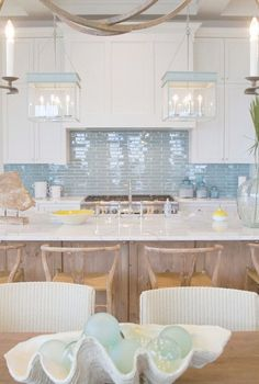Blue backsplash and light Meredith McBrearty - PORTFOLIO - Florida beach house- white and blue kitchen Beach Cottage Style, Beach House Decor, Coastal Style, Coastal Decor, Coastal Furniture, Coastal Cottage, Coastal Interior, Cottage Art, Nautical Style