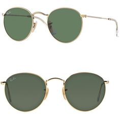 Ray-Ban Round Metal Sunglasses ($155) ❤ liked on Polyvore featuring accessories, eyewear, sunglasses, apparel & accessories, green, rounded sunglasses, round glasses, round metal glasses, green glasses and green lens sunglasses