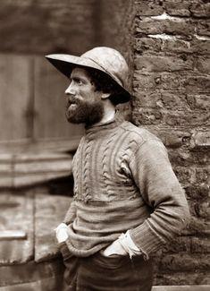 fishermen, Frank sutcliffe beard hat jumper bricks sepia profile