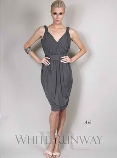 Lauren Dress. Sweet V-necklined dress with gathering detail on the front and cowl-neck draping on the back. A perfect cocktail length bridesmaid dress. Silky stretch jersey material provides an easy fit.