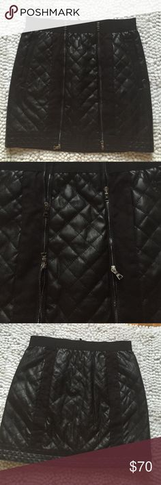 BCBG pleather quilted skirt blck quilted leather skirt. stretchy band at top. pockets. zippers in front zip up and down as seen in photo 2. excellent condition, no signs of wear. NO TRADES BCBGMaxAzria Skirts Mini