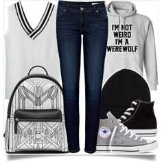 School Style by madeinmalaysia on Polyvore featuring polyvore fashion style Anine Bing Converse True Religion