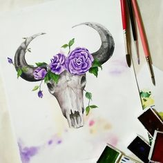 Watercolor Paper, Watercolor Paintings, Kuretake Gansai Tambi, Cebu, Taxidermy, Moose Art, Gallery Wall, Boho, Instagram
