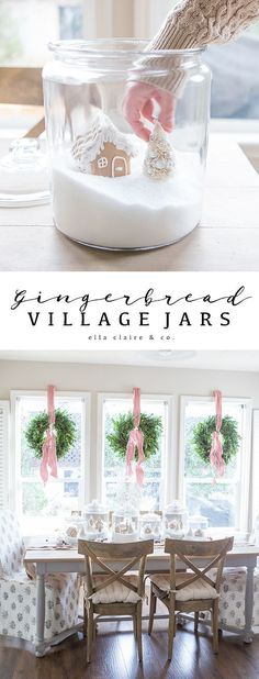 DIY Christmas Village Jars Create a charming gingerbread village for the holidays! Much more kid friendly since it is contained- sure to last through Christmas! Source by theexchange Diy Christmas Village, Christmas Villages, Outdoor Christmas Decorations, Table Decorations, Christmas Cactus, Winter Decorations, Christmas Kitchen, Rustic Christmas, White Christmas