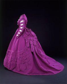 Evening dressMadame VignonParis1869-70Ribbed silk trimmed with satin