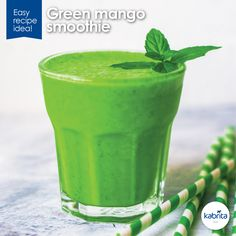 Go green for St. Patrick's Day with our protein and fiber-packed Green Mango #Smoothie #recipe! Plus, it's full of essential nutrients like calcium, and Vitamin A + C!