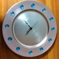 DIY Clock - Plastic Charger Plate, Clock Works, Decorative Glass Beads & Glue!