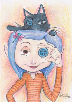 Image shared by Find images and videos about cat, coraline and i loved this movie on We Heart It - the app to get lost in what you love. Cool Art Drawings, Art Drawings Sketches, Disney Drawings, Cartoon Drawings, Easy Drawings, Coraline Drawing, Coraline Tattoo, Desenhos Halloween, Coraline Aesthetic