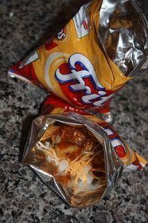 Frito pie in a bag - haven't had this in years!  Good picnic idea!