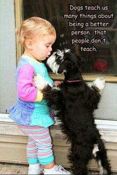 Dogs teach us many things about being a better person that people don't teach. Like respect for all living creatures!