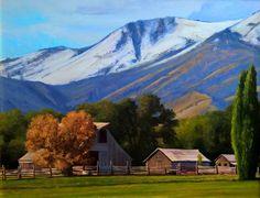 SOLD I Cache Valley Farm I 14x18 I Dix Baines I Fine Artist Original Oil Paintings I Mountains I Utah I Cache Valley I www.dixbaines.com