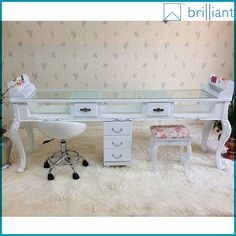 Source 1705-2 Beauty wood with glass nail salon furniture table/manicure table t for 2 meter , 3 seats on m.alibaba.com