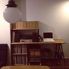 covananaさんの、机,PCデスク周り,無印良品,収納,レコード,DIY,simplehuman,のお部屋写真