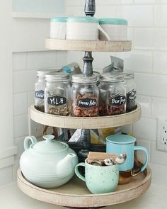 Pro tip: cake stands make a great storage solution/aesthetically pleasing home f. Pro tip: cake stands make a great storage solution/aesthetically pleasing home for all those mismatched mugs (when you eventually retrieve them from y. Decor Home Living Room, Living Room Kitchen, Interior Design Living Room, Home And Living, Kitchen Decor, Bedroom Decor, Decor Interior Design, Interior Decorating, Sweet Home
