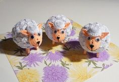 Quilling art. Three Easter lambs by QuillingLife on Etsy