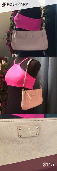 💘Kate ♠️ spade 💘 baby pink shoulder bag 💗 Kate Spade ♠️ baby pink leather shoulder bag   Lightly used still looks new 💗  I am open to offers on everything and will ship the item the same day as purchased as long as the post office is open ♥️  I am an experienced seller and shipper ♥️ kate spade Bags Shoulder Bags