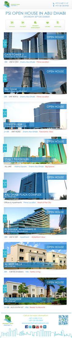 Open Houses Saturday 20/December in Abu Dhabi   This Week Open Houses will be in :    MAG 5 - Al Reem Island Gate Tower - Al Reem Island Sky Tower - Al Reem Island Al Naseem A - Al Raha Beach Arabian Village - Al Reef Villas AD Plaza Complex - Abu Dhabi City Al Ghadeer Village    Office : 02 6391147 Sales mobile: 0501205933 Leasing mobile: 0567337427  #abudhabi #openhouse #saturday #alreemisland #reemisland #alghadeer #rahabeach #alrahabeach #property #propertyforsale #realestate