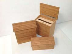 environmentally friendly, modern wood mailboxes, in three sizes and with locking capability