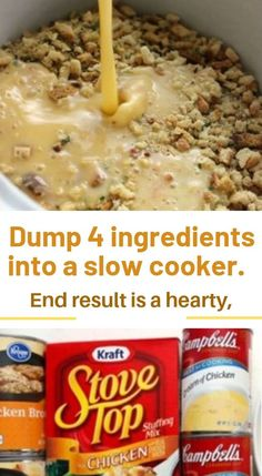 Dump 4 ingredients into a slow cooker. End result is a hearty, tasty chicken and… Dump 4 ingredients into a slow cooker. End result is a hearty, tasty chicken and…,Crockpot recipes slow cooker Dump. Crockpot Dishes, Crock Pot Slow Cooker, Crock Pot Cooking, Slow Cooker Recipes, Cooking Recipes, Easy Crockpot Meals, Steak Recipes, Chicken Recipes With 5 Ingredients, Shrimp Recipes