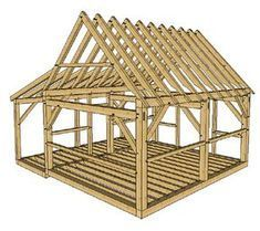 16x20 Timber Frame Cabin With Lean To Timber Frame Cabin Timber Frame Plans Timber Frame Cabin Plans