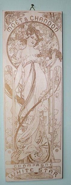 Art Nouveau laser engraving on wood by gravez.ro