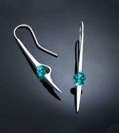 Blue Topaz Earrings, Dangle Earrings, Statement Earrings, Turquoise Blue Topaz, Designer Jewelry, Eco- Friendly, Modern Earrings - 2444