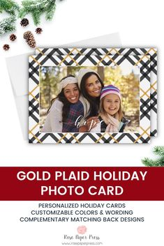 Share holiday greetings with golden plaid holiday photo cards. Need to add more pictures or share a detailed message? Add a complementary custom back upgrade. We design, personalize, and professionally print your holiday cards for you. Shop Holiday Cards today.