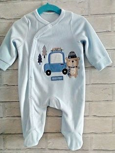 Baby Boys Blue Velour Sleepsuit Babygrow 0-3 months Pep&Co #Pepco