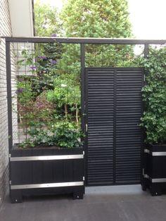 Tuinidee, tuininspiratiie voor poort naar achtertuin en verbergen van tuinkast met een groene schutting waarschijnlijk met klim hortensia
