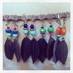 Recycled Bicycle Tube & Beaded Feather Earrings by maybirdjewelry