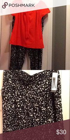 Black and White Drawstring Pants Machine Washable Soft Drawstring Pant Zac & Rachel Pants