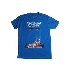 The Great Gatsby book cover t-shirt | Outofprintclothing.com ($28) ❤ liked on Polyvore featuring tops, t-shirts, shirts, t shirts, unisex tees, blue tee, blue t shirt and unisex shirts