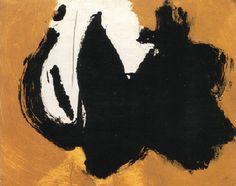 "Robert Motherwell (1915-1991) - ""Two figures"" (1958)  Huile sur panneau (22 x 27)"