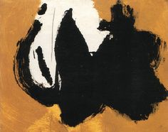"Robert Motherwell (1915-1991) - ""Two figures"" (1958)  Huile sur panneau (22 x 27)"