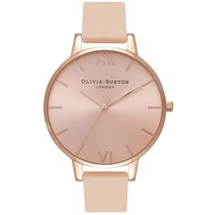 Olivia Burton  Big Dial Watch - Nude Peach & Rose Gold (360 AED) ❤ liked on Polyvore featuring jewelry, watches, quartz movement watches, leather-strap watches, rose jewellery, rose watches and pink gold watches