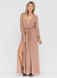 Sheer Slit Chiffon Maxi Dress #love