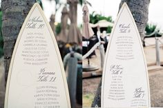 Wedding surfboard seating chart  by http://missbcalligraphy.com/