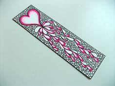 Original Art Bookmark, Heart Illustration, Mother's Day Gift Idea, Zentangle Inspired Art. $25.00, via Etsy.
