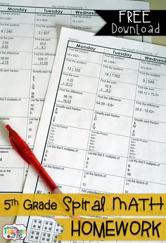 FREE 5th Grade Common Core Spiral Math Homework - with answer keys - 4 Weeks FREE!