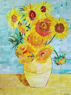 Little Miss Kindergarten - Lessons from the Little Red Schoolhouse!: A Little Van Gogh! Artist Van Gogh, Van Gogh Art, Paper Collage Art, Collage Artists, Kindergarden Art, Miss Kindergarten, Sunflower Images, Van Gogh Sunflowers, 2nd Grade Art