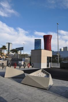 Roc Planters at Barcelona. With Toyo Ito's red tower background. Design by CAAS Arquitectes. Durbanis.