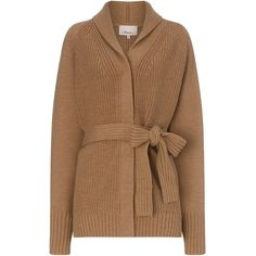 3.1 Phillip Lim Camel Wool Oversized Belted Cardigan ($710) ❤ liked on Polyvore featuring tops, cardigans, outerwear, sweaters, beige, shawl collar cardigan, chunky wool cardigan, belted cardigan, beige cardigan and chunky oversized cardigan