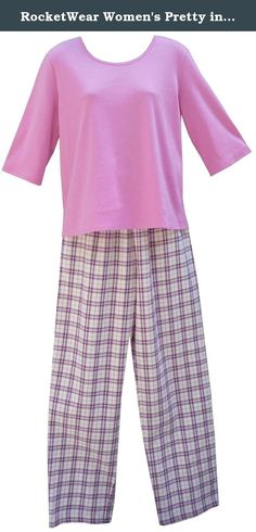 RocketWear Women's Pretty in Pink Cotton Flannel Pants and Orchid Three Quarter Sleeve Cotton Top Pajama Set Large. RocketWear®'s Pretty in Pink, a navy blue and pink plaid on a cream background, comes in a super soft 100% cotton flannel pajama/lounge pant with a coordinated solid orchid pink three quarter sleeve 100% cotton top. The most comfortable pair of pants you'll ever own, they have side pockets, a drawstring and elastic waist. Machine wash, Import. Sizes run as follows: S(6-8)...